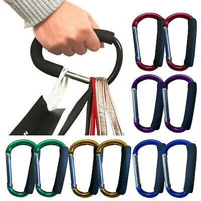 Buggy Carry Clips X2 Coloured Large Pram Pushchair Shopping Bag Hook Mummyclips