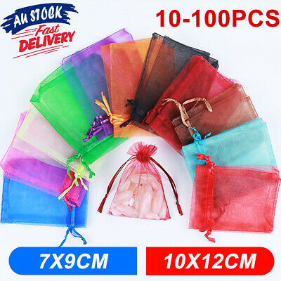 10-100Pcs Wedding Party Sheer Easter Gift 2 Size Candy Bags Egg Organza Bag