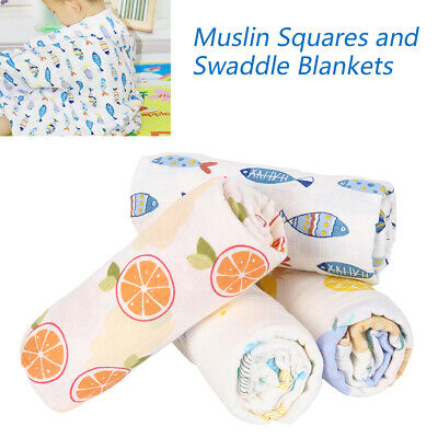 4 X Soft Large Cotton Muslin Swaddle Squares Blanket for Newborn Baby 120x120 cm