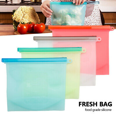 8PCS Kitchen Fresh Zip lock Bag Reusable Silicone Food Freezer Storage Ziplock