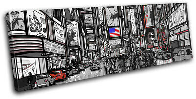 New York Times Square Illustration City SINGLE CANVAS WALL ART Picture Print
