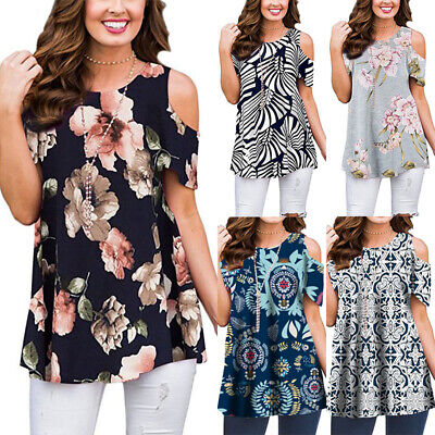Womens Cold Shoulder Floral Loose Tunic Blouse Ladies Summer Baggy T Shirt Tops