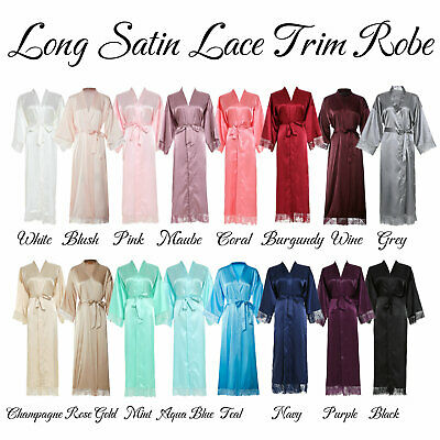 Women Long Bride Silk Satin Lace Robe bridal Bridesmaid Wedding Robes Bathrobe