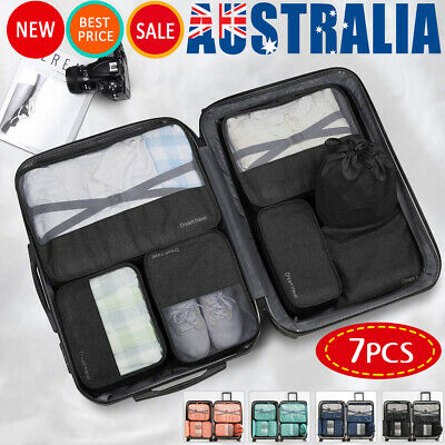7Pcs Packing Cubes Luggage Organiser Travel Pouch Clothes Suitcase Storage Bags