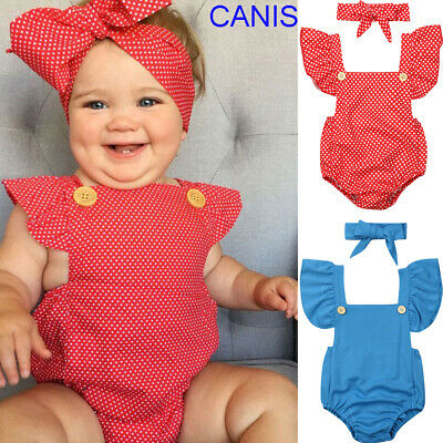AU 2PCS Newborn Kids Baby Girls Outfit Clothes Romper Jumpsuit Bodysuit+Headband