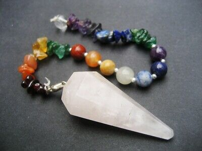 Rose Quartz Super Chakra Faceted Healing Crystal Gemstone Precision Pendulum