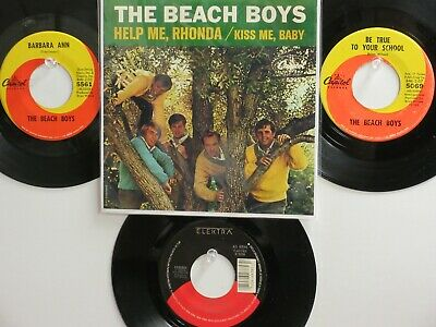 LOT OF 4 ' THE BEACH BOYS ' HIT 45's+1P(Copy)[Help Me, Rhonda] THE 60's-80's!