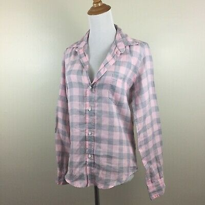e4e82c8d NWOT Frank & Eileen Womens Small BARRY Pink Gray Checks Long Sleeve Button  Shirt