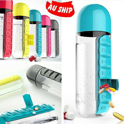 600ml Sport Water Bottle With Daily 7 Daily Vitamin Emergency Medicine Pill Box