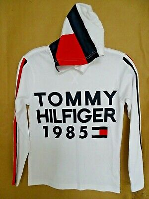 NEW Tommy Hilfiger Boys 1985 Graphic Cotton Hoodie White TH Flag Long Sleeve