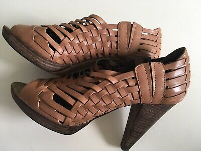 a54e253556 Womens Banana Republic Leather Brown/Tan Heels Shoes Size 7.5M Sandals  Strappy