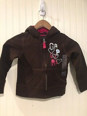 Girls Gap Kids Xs 4-5 Brown Embellished Zipper Hoodie NWT