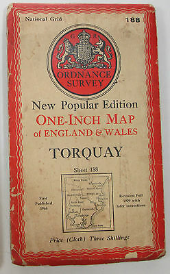 1946 old vintage OS Ordnance Survey New Popular Edition CLOTH map 188 Torquay
