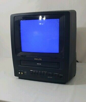 """PHILIPS 9"""" Color TV VCR Combo CCC092AT01 AC DC Camping RV Car Gaming With Case"""