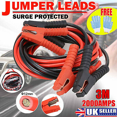 Heavy Duty Extra 3.0 Metre Trade 2000Amp Car Van Truck Jump Leads Booster Cables