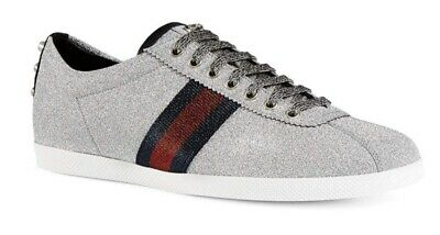 452a1f3b GUCCI MEN'S BAMBI Web Low-Top Sneakers with Stud Detail Silver 7