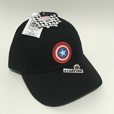 7aed5ab3 Vans Marvel Avengers Captain America Shield Black Hat Strapback Cap w Tags  SEE.