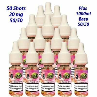 50 x 10ml Nikotin Shot - Nikotinshot 20mg/ml plus 1000ml Base 50/50