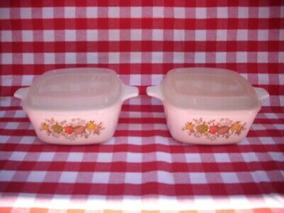 2 Corning Ware  Spice Of Life  Petite Pans Casseroles P-43-B & Clear Lids