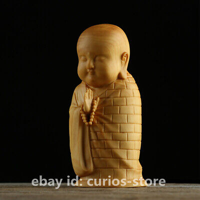 Chinese Exquisite Box-wood Hand-carved Buddhism Lovable Monk Small Shami Statue