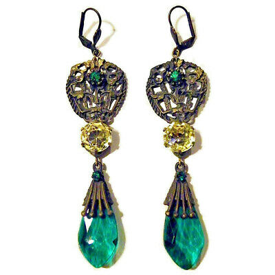 Antique Victorian Edwardian Vintage Art Deco Czech Crystal Earrings Gift Stamped