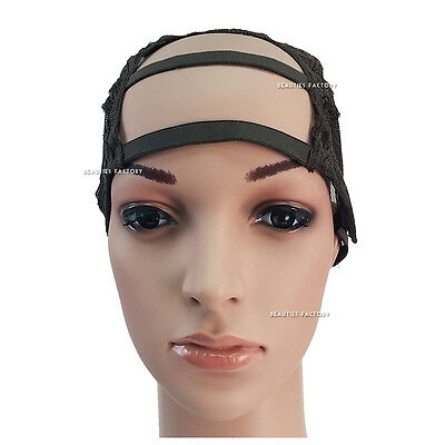 DIY U Part Gap Hair Front Middle Weaving Wig Cap Net Mesh Adjustable Strap 1238F