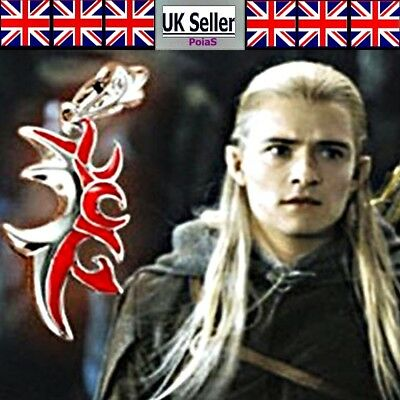 Lord of the rings Prince Legolas Red Wizard Flower Pendant Necklace UK Seller