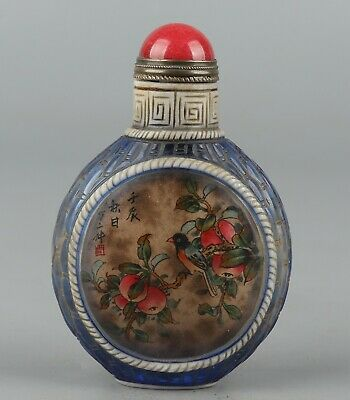 Bone painting Beautiful woman pattern China Exquisite Snuff Bottle  Z845