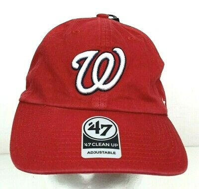outlet store 45d53 2be73 NWT Washington Nationals 47 Brand Clean Up Adjustable Red Hat Cap MLB