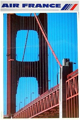 1991 Original AIR FRANCE Airlines TRAVEL POSTER America USA French TWINS PHOTOS