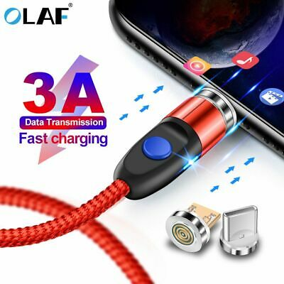 360° LED Magnetic Micro USB 3A Fast Charger Charging Cable For IOS Android TypeC