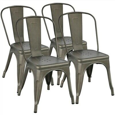 Classic Iron Metal Dinning Chair Indoor Outdoor Stackable Coffee Chair Set of 4