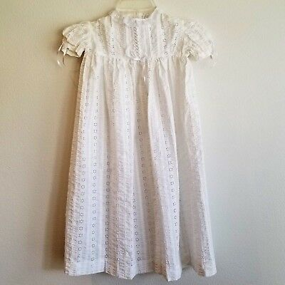 Vintage Christening Gown Robe Dress White Eyelet Antique see measurements