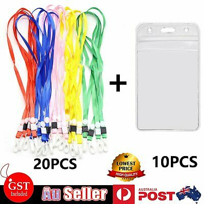 10x Clear Plastic ID CARD HOLDER POUCH + 20x Neck Strap Lanyard Multi Colour Set