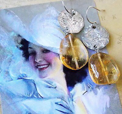 *Vintage 1990s Hand Crafted Amber Rulite Quartz Women's Dangle Earrings
