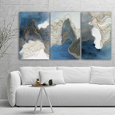 Abstract Blue Grey Gold Framed Canvas Prints Modern Wall Art Home Decor Print