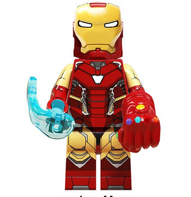 RARE LEGO MINIFIGURE IRON MAN IRONMAN  with infinity gauntlet AVENGERS ENDGAME