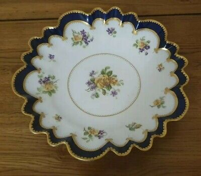 RARE GEORGE JONES CRESCENT CHINA - *FLUTED COBALT BLUE FLOWER DISH* - Beautiful.