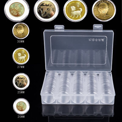 100 Pieces Coin Cases Capsules Holder Applied Clear Plastic Round Storage Box~