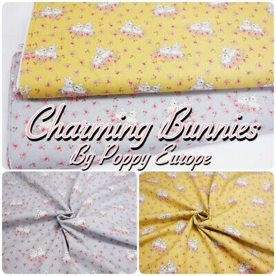 Charming White Baby Bunny Rabbit Cute 100% Cotton Dressmaking + Craft Fabric