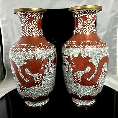 A Pair Of Chinese Cloisonne Vases Rare Red Dragons On White Ground