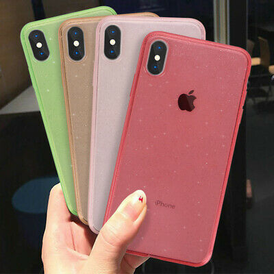 Cand Color Glitter Soft Rubber Clear Case Cover For iPhone XS Max XR X 8 7 6S 6