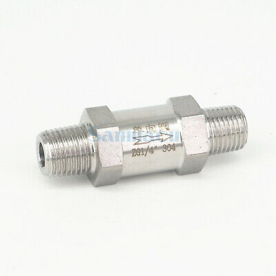 """1/4"""" BSPT Male Check One Way Valve 304 Stainless Steel Water Gas Oil Non-return"""