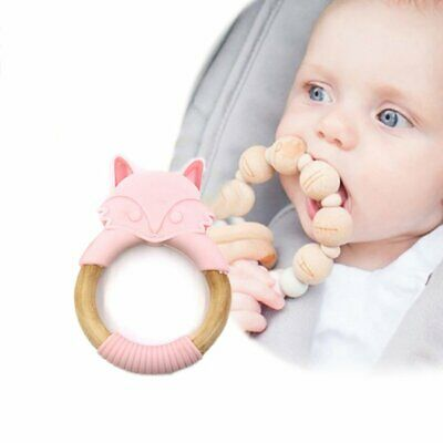 Fox Teether Silicone Baby Teething Silicone Pendant Bpa Free Chewing Gum OK