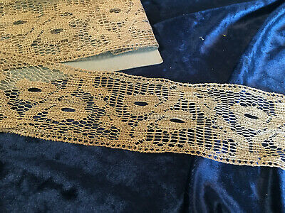 "Very Pretty French Antique 3"" Wide Gold Metallic Lace Unused 74"""