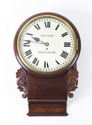 Antique Victorian Drop Trunk Single Fusee  Flame Mahogany Wall Clock C1860