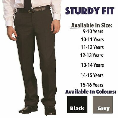 Boys Plus Size Sturdy Fit Black School Trousers Generous Fit Ages 2-16