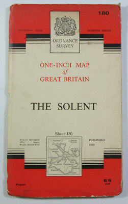 Old Vintage 1963 OS Ordnance Survey One-inch Seventh Series Map 180 The Solent