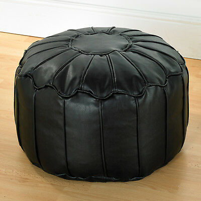 Black Luxury Faux Leather Moroccan Bean Bag Footstool Pouffe With Piped Edges