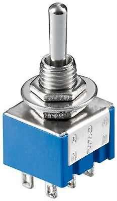 Goobay Miniature toggle switch blue ON-OFF-ON with solder pins (10023)